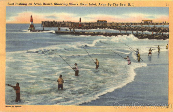 Surf fishing on avon beach showing shark river inlet avon for Surf fishing nj