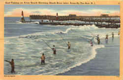 Surf Fishing On Avon Beach Showing Shark River Inlet