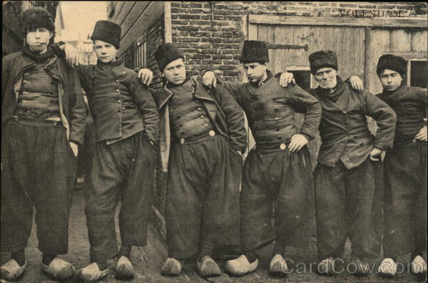 VColendam - A Line of Duytch Men In Wooden Shoes Netherlands