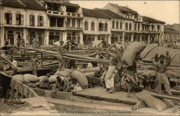 Landing of rice by Chinese coolies at Boat Quay Singapore