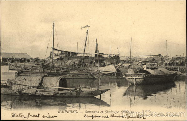 Chinese Sampans and Rowboat Tonkin (Vietnam) Southeast Asia