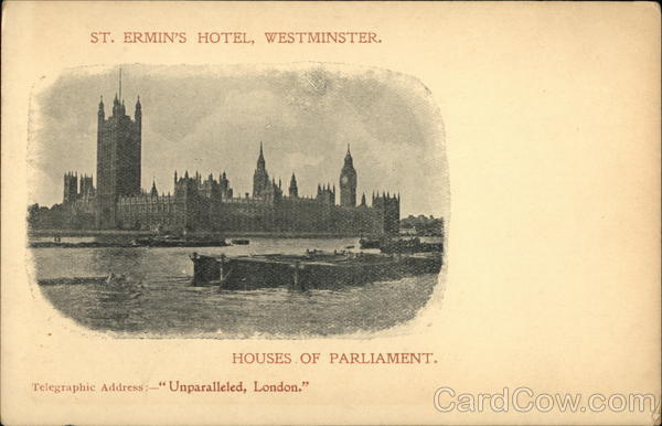St. Ermins Hotel, Westminster; Houses of Parliament London England