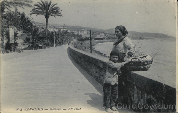 Woman and Child by Seawall San Remo Italy