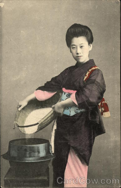 Japanese Woman Holding Basket