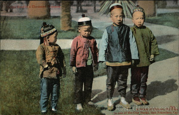 Group of Chinese Children in one of the city parks San Francisco California