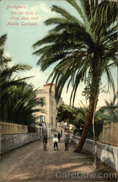 Street scene with palm trees Bordighera Italy
