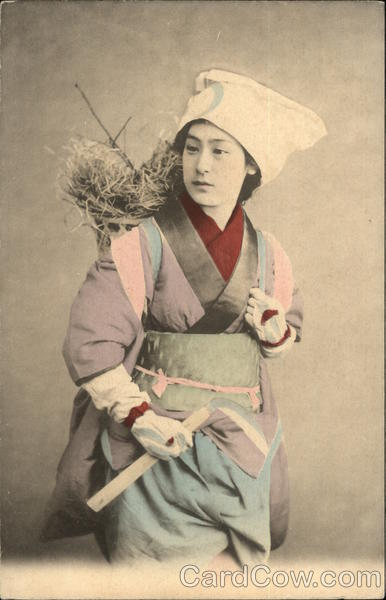 Peasant Worker - Hand Colored Japan Asian