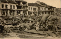 Landing of Rice by Chinese Coolies at Boat Quay