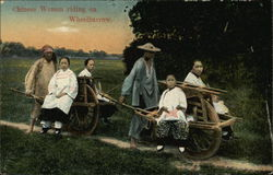 Chinese Women Riding on Wheelbarrow