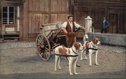 Milk Wagon Pulled by Dogs