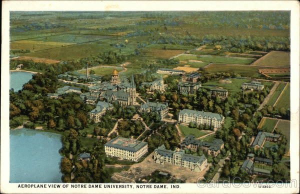 Aeroplane View of Notre Dame University Indiana