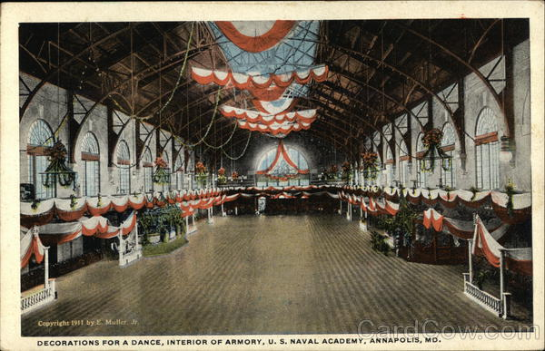 Decoration for a Dance, Interior of Armory, U. S. Naval Academy Annapolis Maryland