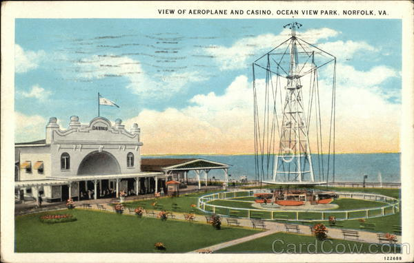 View of Aeroplane and Casino, Ocean View Park Norfolk Virginia