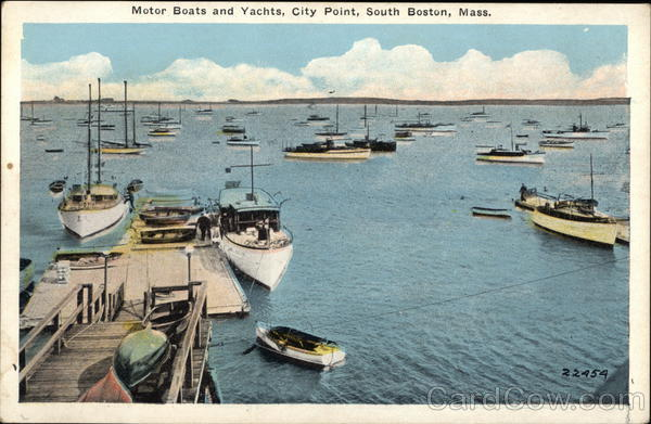 Motor Boats and Yachts, City Point South Boston Massachusetts
