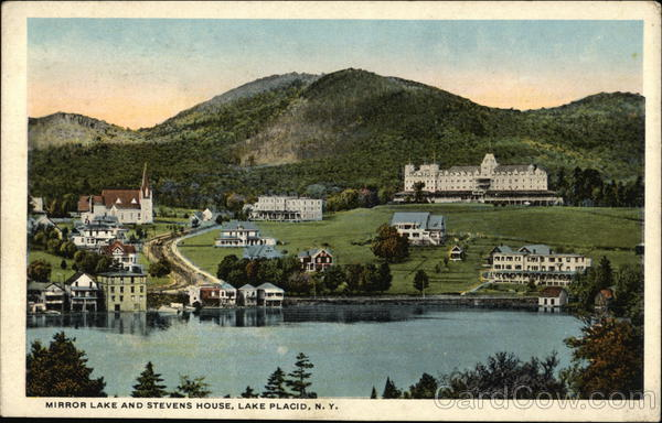 Mirror Lake and Stevens House Lake Placid New York