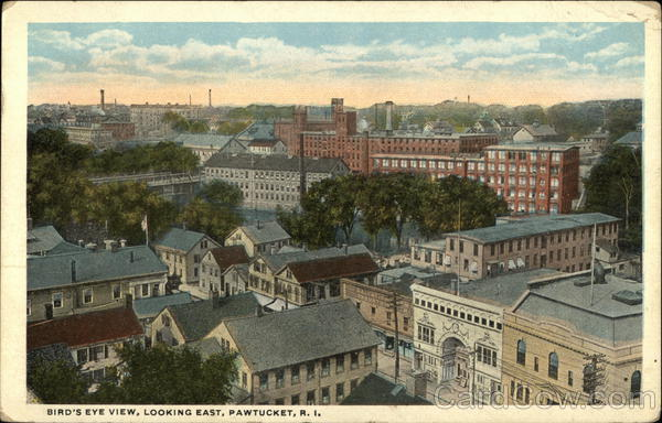 Bird's Eye View, Looking East Pawtucket Rhode Island