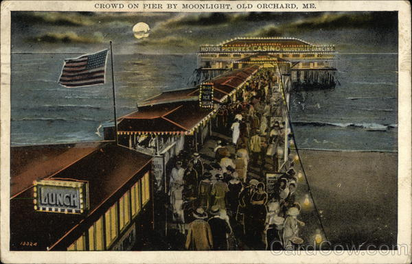 Crowd on Pier by Moonlight Old Orchard Beach Maine