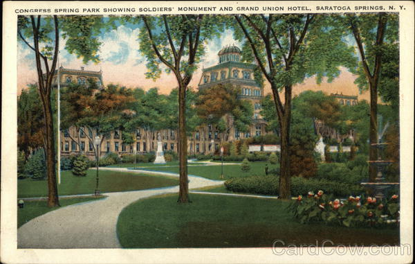 Congress Spring Park, showing Soldiers' Monument and Grand Union Hotel Saratoga Springs New York