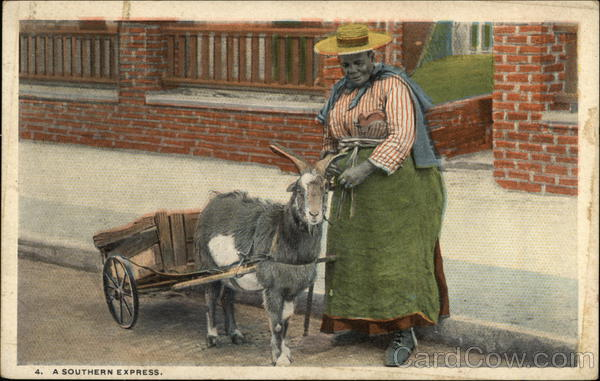 A Southern Express - Black Woman with Goat Cart Black Americana