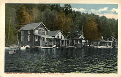 Canoe Club and Cottages, Lake Pearl Postcard