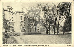 South Hall and Chapel, Adrian College Postcard