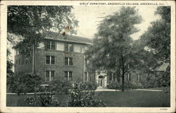 Girls' Dormitory, Greenville College Postcard