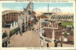 Scene in Paragon Park, Showing Roller Coaster and Witching Waves, Nantasket Beach