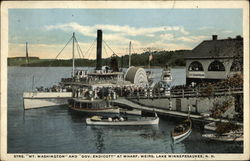 "Strs. ""Mt Washington"" and ""Gov. Endicott"" at Whark, Weirs, Lake Winnepesaukee Postcard"