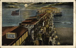 Crowd on Pier by Moonlight