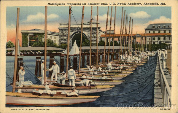 Midshipmen Preparing for Sailboat Drill, US Naval Academy Annapolis Maryland