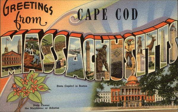 Greetings from Cape Cod Massachusetts Large Letter