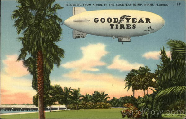 Returning from a Ride in the Goodyear Blimp Miami Florida