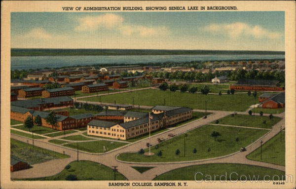 View of Administration Building, showing Seneca Lake in Background, Sampson College New York