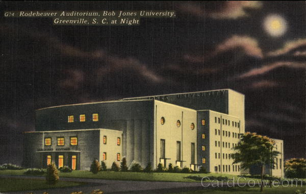 Rodeheaver Auditorium, Bob Jones University. at Night Greenville South Carolina
