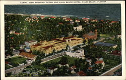Aerial View Showing Ocean and Palm Beach Hotel Postcard
