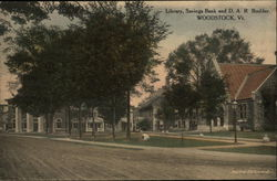 Library, Savings Band and D. A. R. Boulder Postcard