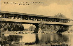 Old Covered Bridge over Saco River and Moat Mountain