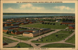 View of Administration Building, showing Seneca Lake in Background, Sampson College