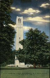 N. C. State College - Clock Tower & Chimes, War Memorial