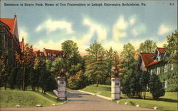 Entrance to Sayre Park, Home of Ten Fraternities at Lehigh University