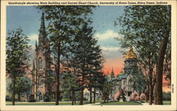 Quadrangle showing Main Building and Sacred Heart Church, University of Notre Dame Postcard