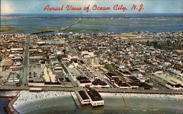 Aerial View of Town and Beach Ocean City New Jersey