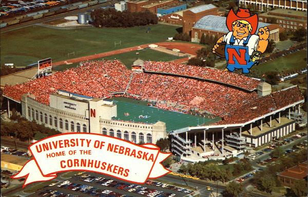 university of nebraska memorial stadium lincoln ne postcard