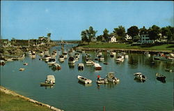 Boats in the picturesque harbor of Perkins Cove