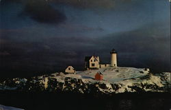 Mid Winter Snow Covered Scene of Nubble Lighthouse