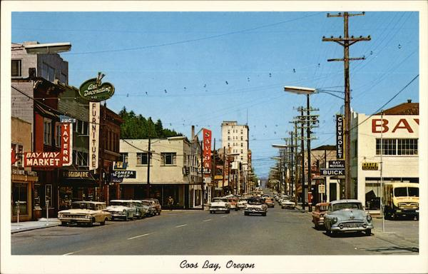 A Busy Main Street View Coos Bay Oregon