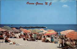 Beach Goers and Umbrellas at Ocean Grove
