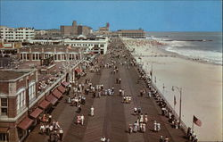 Looking down the Boardwalk and Beach toward the Convention Hall