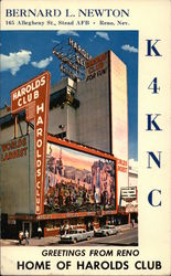 Greetings From Reno, Home of Harolds Club Postcard