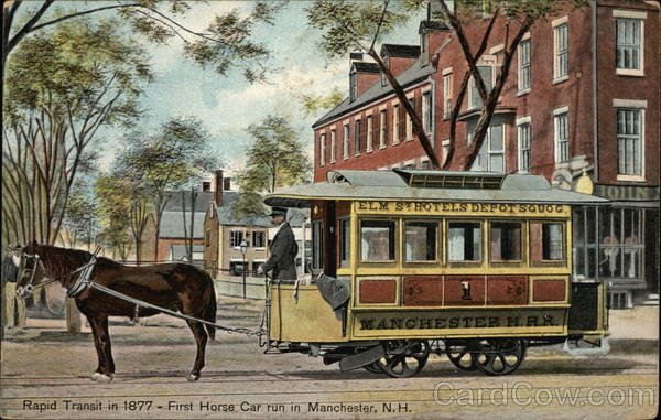 Rapid Transit in 1877 - First Horse Car Manchester New Hampshire